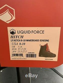 Liquid Force Hitch Wakeboard Bindings Black/Red Size 8-10 US 2019