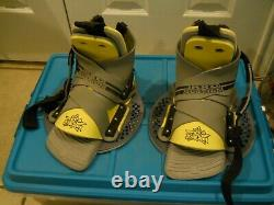 Liquid Force Pro Suction Wake Board Bindings, size L, Black and Yellow