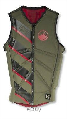 Liquid Force Z Cardigan Zip Wakeboard Impact Vest, Small, Green Red. 61347